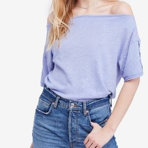 Free People Light Blue Off The Shoulder Linen Tee